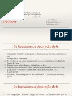 Estudo Declaração Doutrinária Da CBB - Convenção Batista Brasileira