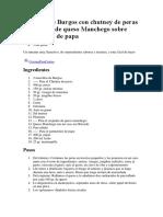 Morcilla de Burgos Con Chutney de Peras y Crujiente de Queso Manchego Sobre Parmentier de Papa