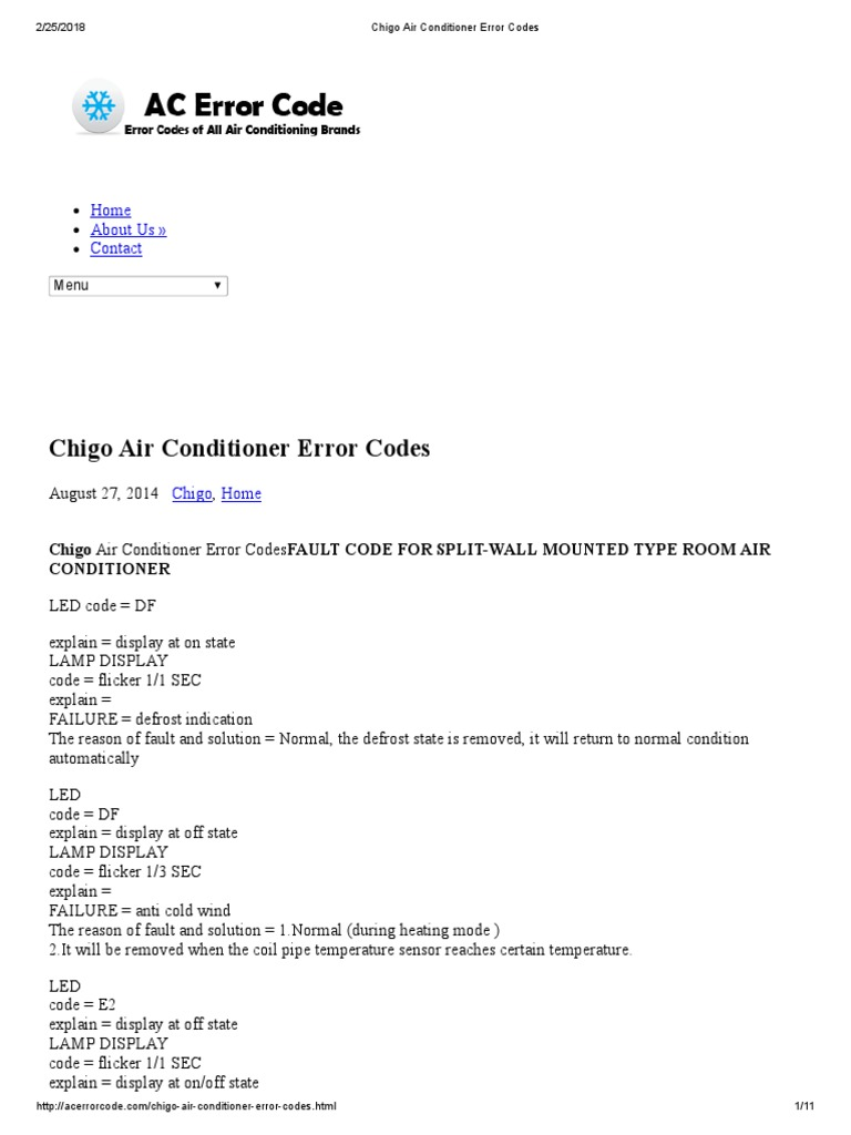 Actron air fault codes
