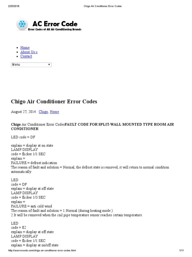 Chigo Air Conditioner Error Codes | Air Conditioning | Hvac