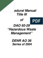 DAO 2004-36 – Procedural Manual Title III of DAO 92-29 Hazardous Waste Management