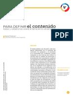 Feldman, Daniel.  Para Definir El Contenido. Revista Trayectorias Universitarias