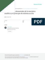 Disquisiciones Elementales de La Mecánica Analítica y El Principio de Mínima Acción