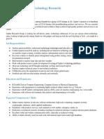 Job Description - Technology and Research Associate