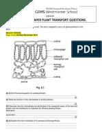 [20048]Igcse Past Paper Plant Transport Questions
