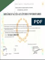 Diplôme DAEU Option a ( Bac Littéraire, Économique Et Juridique