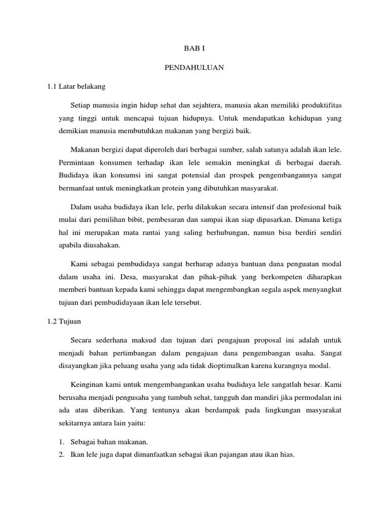 56218414 Proposal Budidaya Ikan Lele Docx