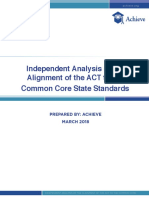 Independent Analysis of the Alignment of the ACT to the Common Core State Standards