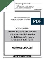 Decreto Supremo Que Aprueba El Reglamento de Licencias de HU y Licencias de Edificacion