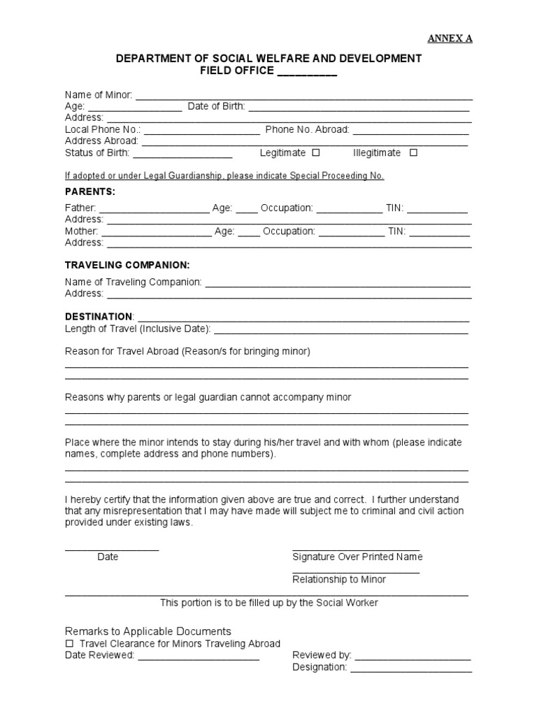 Dswd travel clearance for minor application form altavistaventures Image collections
