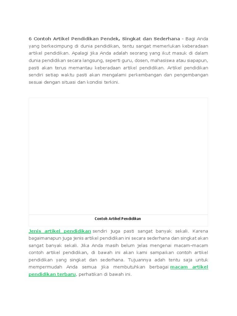 Contoh Artikel Pendidikan Singkat Kumpulan Soal Pelajaran 6