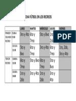 Calendario Uso Cancha Fútbol en Los Recreos