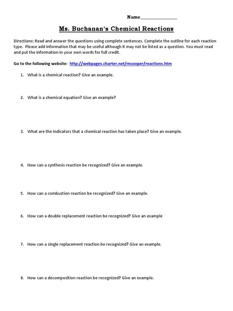 Chemical Reactions Webquest 3 Chemical Reactions Unit Processes