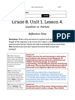 danielle sipes - unit 1  lesson 4 - 8th grade - reflection  loyalists vs patriots