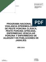 Programa Nacional de Vigilancia en Jabalies 2016
