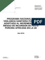 Programa Nacional de Vigilancia Sanitaria Porcina 2016