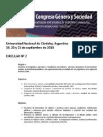 Segunda Circular Congreso Género y Sociedad 2018