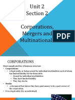 unit 2 section 2- corporations mergers multinationals