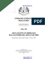 Akta 621 Akta Bantuan Bersama Dalam Perkara Jenayah 2002