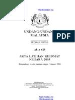 Akta 628 Akta Latihan Khidmat Negara 2003