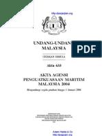 Akta 633 Agency Penguatkuasaan Maritim Malaysia 2004
