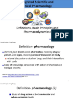 Definitions, Basic Principles and Pharmacodynamics I