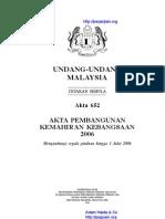 Akta 652 Akta Pembangunan Kemahiran Kebangsaan 2006