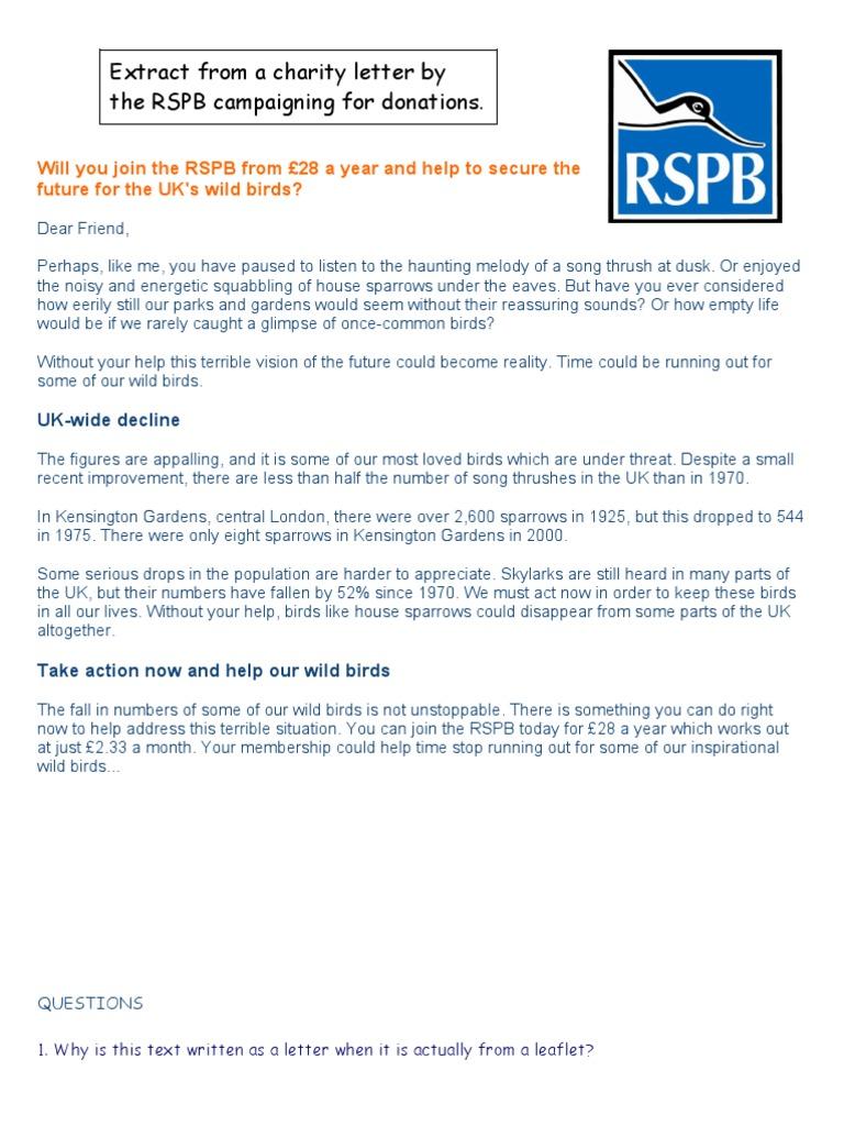 Charity letter leaflet persuasive spiritdancerdesigns Gallery
