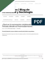 ¿Qué Es La Economía Colaborativa_ Una Mirada Desde El Posmodernismo