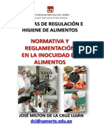 Normatividad y Reglamentacion de Inocuidad de Alimentos