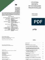 Goody & Watt (1997) - Cultura escrita en sociedades tradicionales.  Introduccion y Capitulo 1.pdf