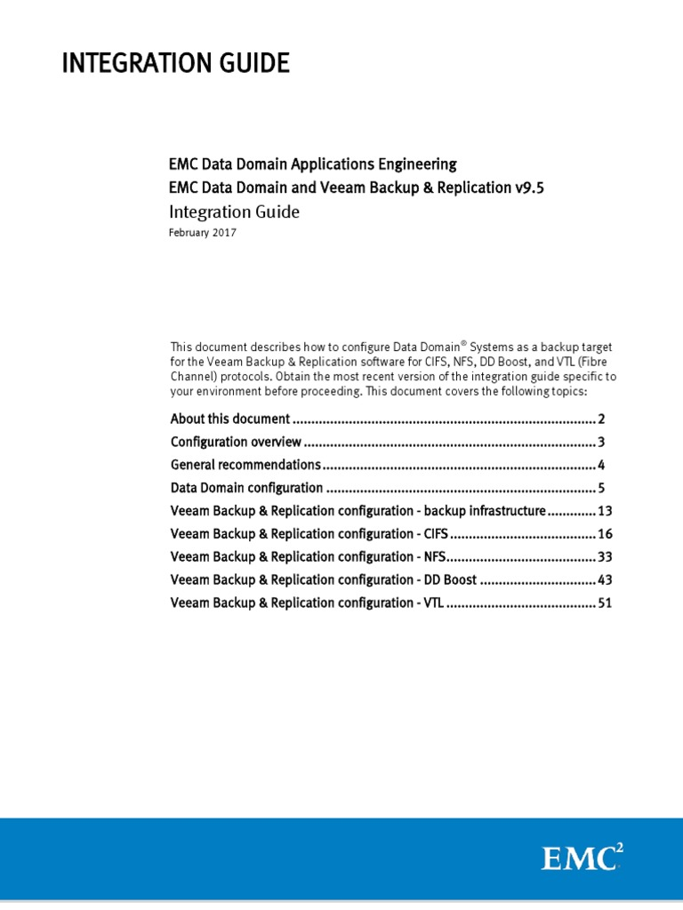 Docu82564 Data Domain and Veeam Backup and Replication 9 5