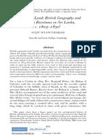 British Geography and Kandyan Resistance - Sujit Sivasundaram - 2007