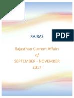 Rajasthan Current Affairs September-November 2017