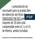Cartel Prueba Libre