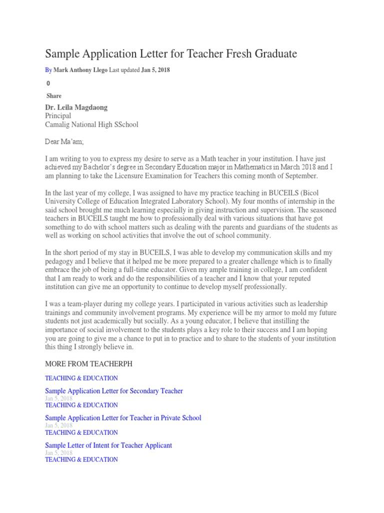 Sample application letter for teacher fresh graduate master of sample application letter for teacher fresh graduate master of arts teachers thecheapjerseys Choice Image