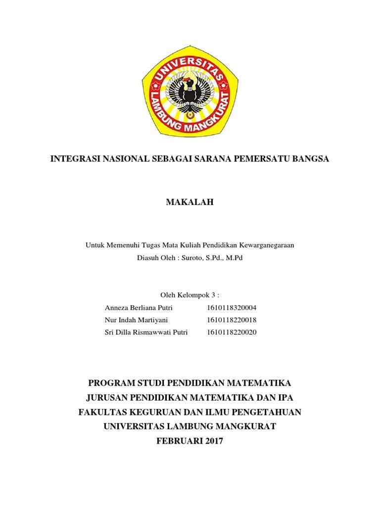 Integrasi Nasional Sebagai Sarana Pemersatu Bangsa
