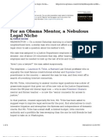10-04-07 NYT- For Obama Mentor Laurence Tribe a Nebulous Legal Niche