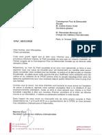 Lettre de Soutien Du PS Français