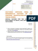 Factores críticos para el desarrollo exitoso de los centros odontológicos