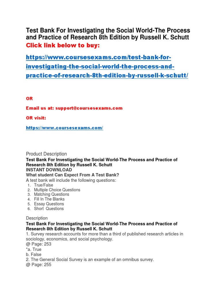 Test Bank for Investigating the Social World-The Process and ...