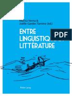 Entre Linguistique Et Littérature - Peter Lang