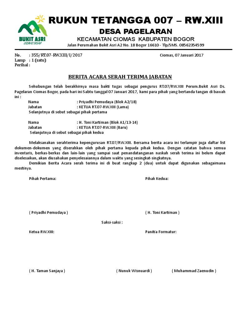 Berita Acara Serah Terima Ketua Rt07 Jan17