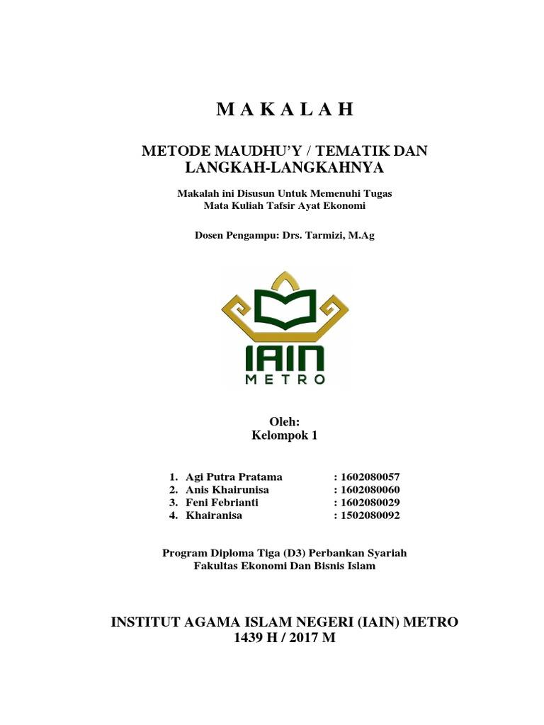 Makalah Metode Maudhu'y Tematik Dan Langkah-langkahnya