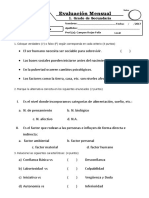 Examene Bimestral II PSICOLOGIA 1ro Sec