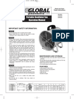 Portable Ventilator Fan Operation Manual