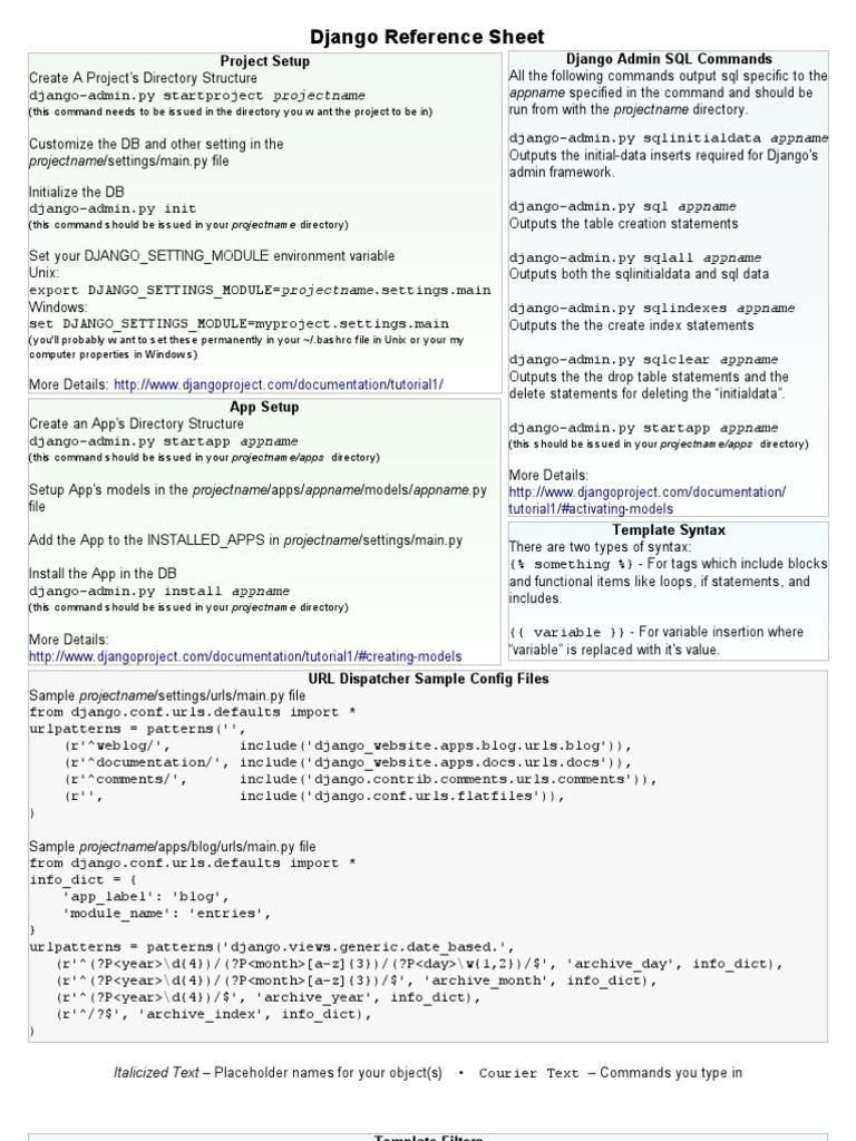 Django Reference Sheet | Parameter (Computer Programming) | Html Element