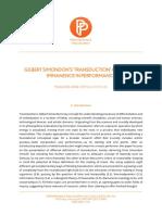 Transduction as Radical Immanence Performance