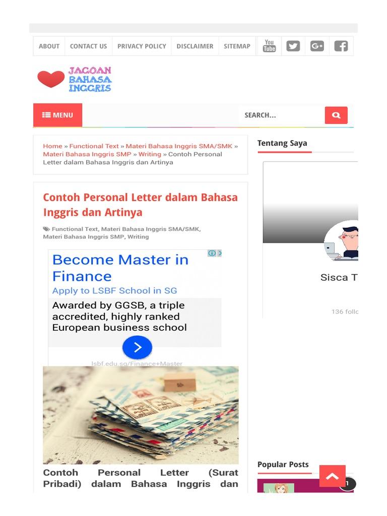 Contoh Personal Letter Dalam Bahasa Inggris Dan Artinyahtml
