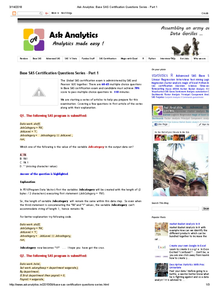 Base Sas Certification Questions Series Part 1 Sas Software